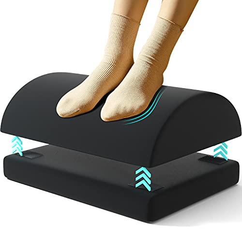 QUTOOL Repose-pieds réglable sous le bureau - Repose-pieds réglable avec 2 repose-pieds en option - Pour bureau, maison, voyage