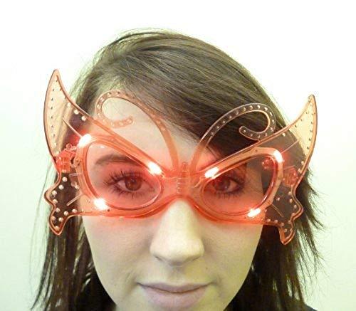 Toyland Allume Clignotant Lunettes Papillon Fantaisie en Rouge - Déguisements