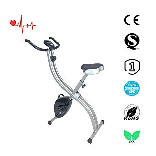 ATIVAFIT X-Bike, F-Bike, Cyclette da Allenamento, Home Trainer, Bici da Fitness Pieghevole con Computer di Allenamento e Sensori delle Pulsazioni