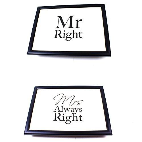 Lap Tray Bean Bag Breakfast Student Dinner Cushion Mr Right & Mrs Always Right