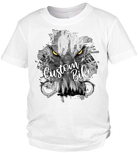 Adler Motorrad Motiv Kindershirt - Kinder T-Shirt Biker : Custom Bike - Kinder Motorrad Sprüche Shirt Adleraugen Gr: S