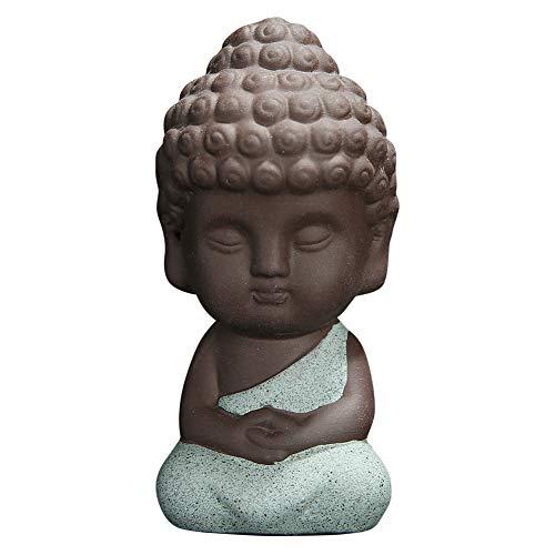 Snobbery Cute Small Buddha Statue Monk Figurine tathagata India Yoga Mandala Sculptures (Blue)