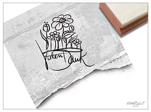 ZACHR-fineT Stempel, veel dankzij de handschrift met bloemen, letterstempel, bedankkaarten, cadeauhangers, knutselen, decoratie, met tekst
