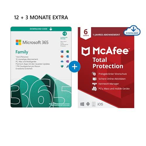 Microsoft 365 Family 12+3 Monate Abonnement | 6 Nutzer | Mehrere PCs/Macs, Tablets/mobile Geräte | Download Code + McAfee Total Protection 2020 | 6 Geräte |12 Monate Abonnement | Download Code