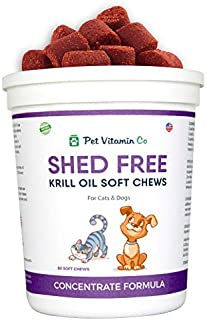 Pet Vitamin Co - Krill Oil Shed-Free Soft Chews for Dogs - Rich in Omega 3 - Improved Skin & Coat - Made in USA - 60 Soft Chews