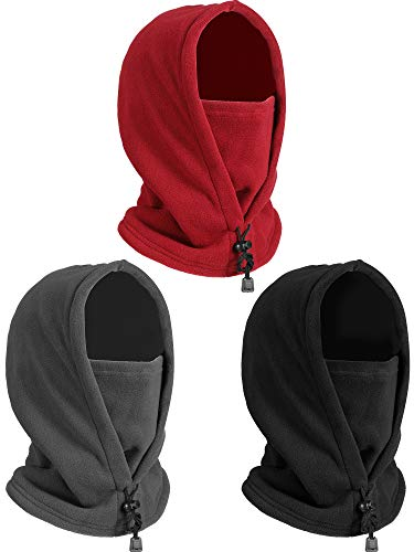 3 Pieces Ski Face Covering for Men Women Winter Thermal Fleece Balaclava Hat Cold Weather Head Warmer Face Warmer for Outdoor Sports