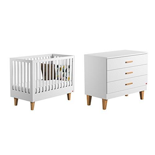 Lit bébé 60x120 et Commode à langer Lounge - Blanc