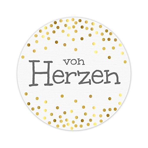KuschelICH 50 Aufkleber von Herzen aus Premium-Strukturpapier mit golden glänzenden Punkten - weiß/grau/Gold - rund 5 cm Durchmesser (50 STK., von Herzen)