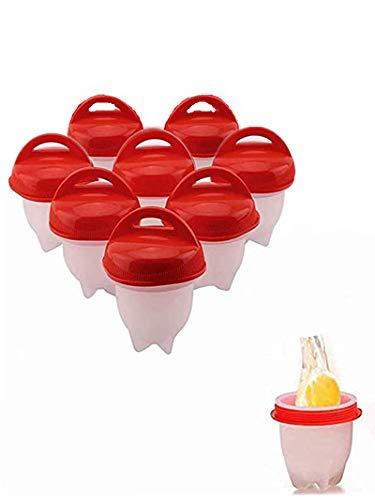 Eierkocher Silikon, Eierkochern ohne schale easy eggs, Non Stick Silikon Gekochte Dampfer Eggies, Maker Egg Cooker BPA Frei Antihaft Eier Pochier, Pochier Schnelle Für Küche Gadgets Zubehör 8Stück