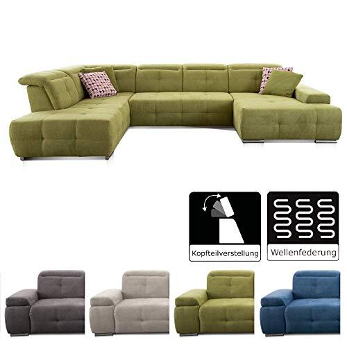 CAVADORE Wohnlandschaft Mistrel mit Longchair rechts und Ottomane links / Großes Sofa in U-Form / Inkl. Kopfteilfunktion / 343 x 77-93 x 228 / Kati Grün