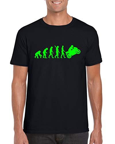StitchPrint Evolution of Man to Kawasaki T-shirt Ninja Moto Super Bike Unisex Top Nero XL