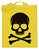 Calavera con huesos cruzados con diseño de pirata – Diseño sencillo y divertido – Bolsa de yute (con asas largas)., color Amarillo, talla 38cm-42cm