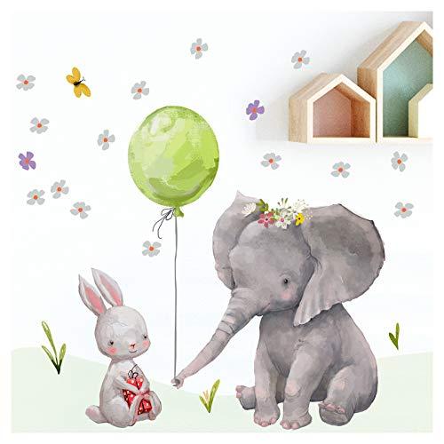 Little Deco muursticker babykamer haas en olifant II ballon groen kinderfoto's deco kinderkamer meisjes sticker DL232
