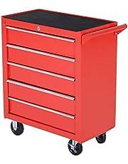 DURHAND Caja Taller Carro de Herramientas con Ruedas Cerradura tipo Mueble de Almacenamiento para Taller Garaje y Hogar Chapa de Acero 69x33x75cm Rojo