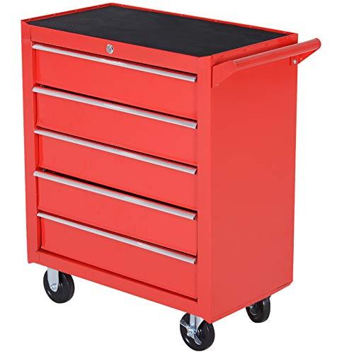 DURHAND Caja Taller Carro de Herramientas con Ruedas Cerradura tipo Mueble de Almacenamiento para Taller Garaje y Hogar Chapa de Acero 69x33x77.2cm Rojo