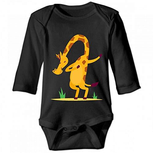 KioHp Dabbing Giraffe Dance Unisex baby ronde hals lange mouwen body, modieus baby klimpak zwart