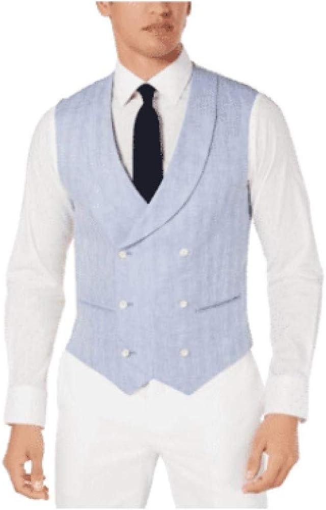 Tallia Men's Slim-Fit Herringbone Double-Breasted Suit Vest Periwinkle 44 REG