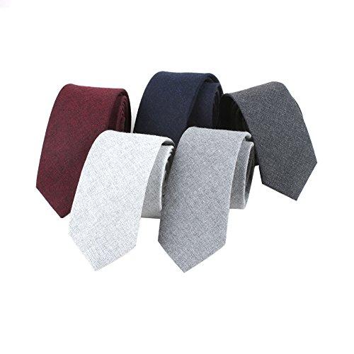 Houlife Men's Cotton Solid Stripe Skinny Tie Slim Necktie For Wedding Party (Mix 2)