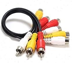 3 RCA Male Jack to 6 RCA Female Plug Splitter Audio Video Av Adapter Cable