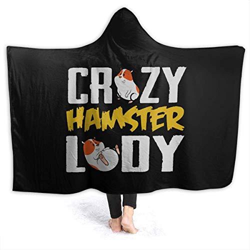 AEMAPE Crazy Hamster Lady Manta con Capucha Mantas Personalizadas Manta de Lana para niños, Adultos 50x40in-71E