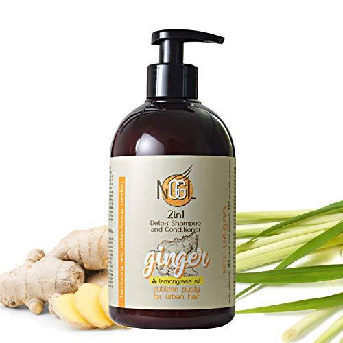 NGGL Shampooing et après-shampooing 2-en-1 détoxifiant et purifiant vegan, enrichi en extrait de gingembre et huile de citronnelle, 500 ml