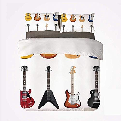 Popun Bettbezug-Set Gitarre Warmes 3-Bett-Set, eine große Auswahl an...