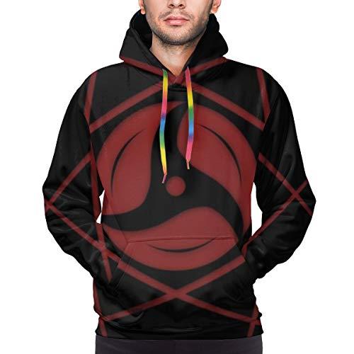 Naruto Uchiha Sharingan - Sudadera con capucha para hombre, manga larga, impresión 3D, a la moda, divertida, con bolsillos en la parte delantera Negro Negro ( L