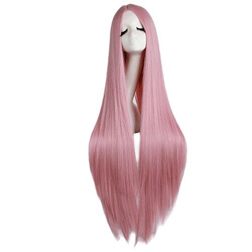 MapofBeauty 100cm  39 Pollice Medio Lisci Donna Lisci Parrucche (Rouge Rosa)