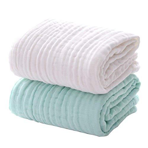 KCGNBQING Toalla, 2pack bebé Muselina Toallas de baño del algodón súper Suave for la Delicada Piel de empañar la Manta del bebé for recién Nacidos Los niños del Muchacho del bebé, Blanca