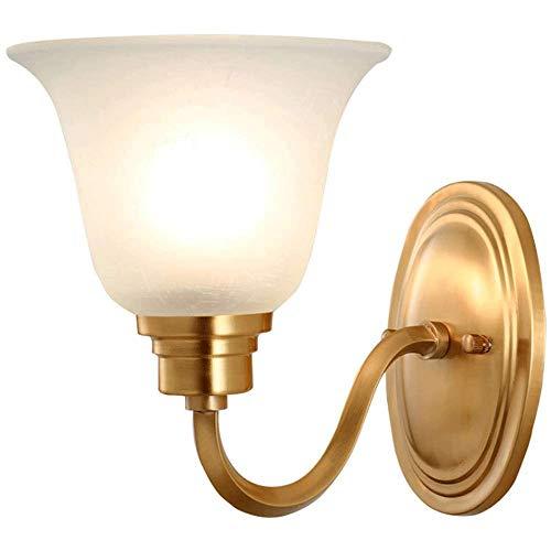Iluminación de Interior Lámparas de pared Estilo americano moderno simple y completa la lámpara de pared de cobre, pantalla de cristal, conveniente for el dormitorio de la cabecera de la sala de pasil