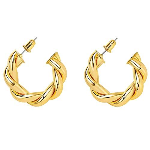 Varadyle Pendientes de Aro de Oro de 18 Quilates Pendientes de Aro Torcidos Gruesos para Mujer Aros de Oro Grueso de 30 Mm