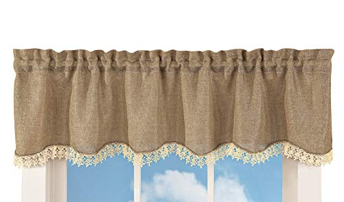 Burlap & Lace Valance Rustic Primitive Country Scalloped Ruffle Beige Curtain
