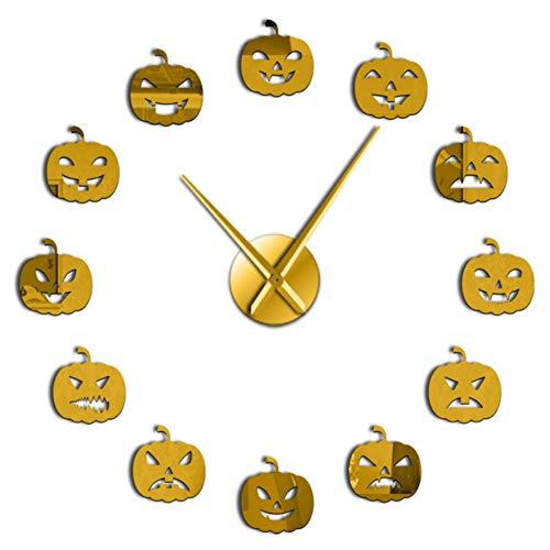 Guokee Citrouille sans Cadre 3D Creative DIY Horloge Murale Halloween Cadeau De Noël Divers Citrouille Émotion Acrylique avec Effet Miroir Autocollant 27 inch