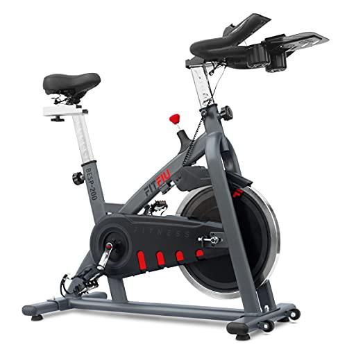 FITFIU BESP-200 - Bicicleta Indoor con disco inercia 18kg, sillín acolchado, resistencia regulable, soporte para botellas y tablet, Bici cardio Entrenamiento Fitness, Pulsómetro y pantalla LCD