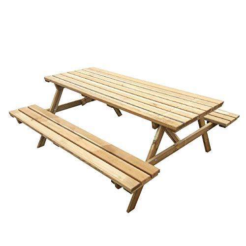 Eco picnic - tavolo da giardino in legno impregnato con panche incorporate tavolo da picnic 6 posti made in italy