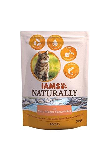 Iams kattenvoer natuurlijk met North Atlantic zalm en rijst, compleet en uitgebalanceerd kattenvoer met natuurlijke ingrediënten, 700 g