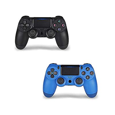 Wireless Controller for PS4,Remote, Joystick with DS4 for Playstation 4 with Charging Cable, Black and Blue Remote, New Model by Foster Gadgets