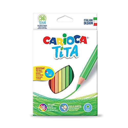 Carioca Matite TITA| Set Pastelli Colorati Esagonali con Punta Resistente per Bambini, Colori Assortiti, 36 Pezzi