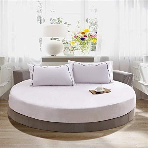 Cjwdxxnh Textiles para el hogar 100% algodón Sábana Ajustable para Cama Redonda 3 unids/Set Funda de colchón de protección con círculo de Goma Diámetro 200 cm / 220 cm