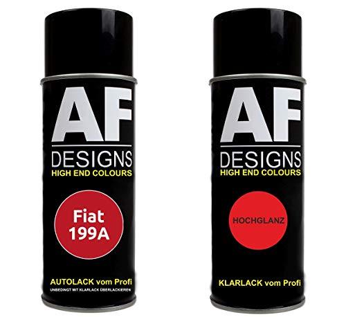 Autolack Spraydose Set für FIAT 199A Rosso Tiziano Basislack Klarlack Sprühdose 400ml