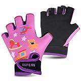 HUPENG Cycling Gloves for Kids, Anti Slip Shock Absorbing Padded Breathable Fingerless Sports Gloves...
