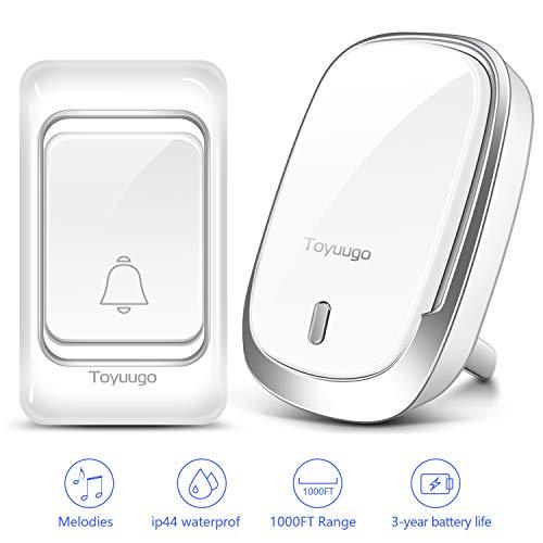 Waterproof Wireless Doorbell,toyuugo Wireless Door Bell Chime Kit with 60 Door Bell Chime,4 Volumes Levels,Operating at 1000-feet Range Plug in Receivers Wireless Doorbells for Home Office Classroom