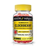 Mason Natural Elderberry with Echinacea & Propolis contains 200 mg of elderberry extract, 400 mg of echinacea extract and 100 mg of propolis extract that may help support immunity against cold and flu. Our combination elderberry echinacea and propoli...