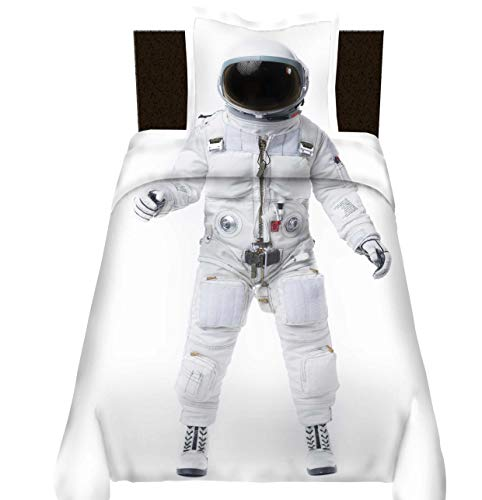 Astronaut Duvet Cover Single Outer Space Printed Decor Adult Kids Bedding Comforter Set Space and Astronaut Pattern Decor Comforter Cover Outer Space Decorative 2 Pieces Bedding Set with Zipper Ties