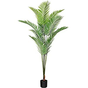 Silk Flower Arrangements CROSOFMI Artificial Areca Palm Tree 6.7 Feet Fake Tropical Palm Plant,Perfect Faux Dypsis Lutescens Plants in Pot for Indoor Outdoor Home Office Garden Modern Decoration Housewarming Gift