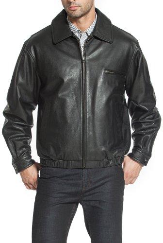 BGSD Men's Aaron Classic Cowhide Leather Bomber Jacket Black Medium