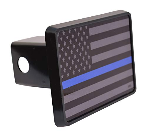 Subdued Thin Blue Line Flag Trailer Hitch Cover Plug US Blue Lives Matter Police Officer Law Enforcement