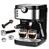 Espresso Machine 20 Bar Coffee Machine With Foaming Milk Frother Wand, 1300W High Performance For Espresso, Cappuccino, Latte, Machiato, For Home Barista, No-Leaking 900ml Removable Water Tank Coffee Maker