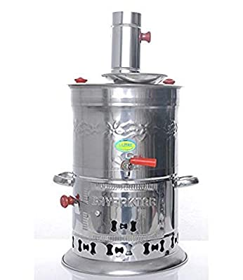 Bayraktar Semaver Stainless Steel Chrome Turkish Tea Kettle Samovar Camping Heater Boiler