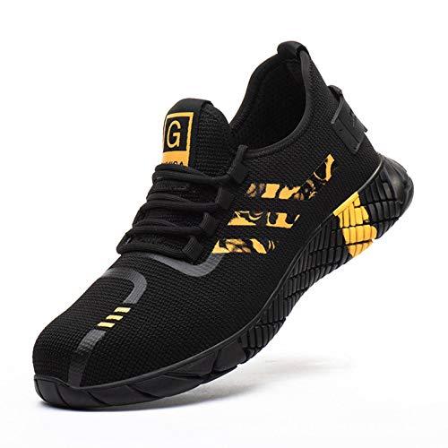 N-B Zapatos de seguridad para hombre Fly Woven, transpirables, antimasaje, antiperforación, puntera, zapatos de seguridad, suela de goma, zapatos de trabajo para hombre